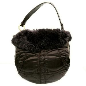 Coach Rabbit Fur Trim Brown Quilted Hobo Bag #3586